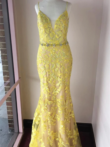 V Neck Trumpet/Mermaid Spaghetti Straps Lace Yellow Long Elegant Prom Dresses, Yellow Mermaid Lace Formal Evening Dresses
