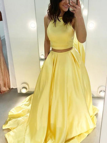 Two piece yellow satin long prom dresses, Two piece yellow formal evening dresses