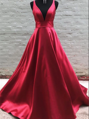 Simple V Neck Burgundy Satin Long Prom Dress, V Neck Burgundy Satin Long Formal Dress