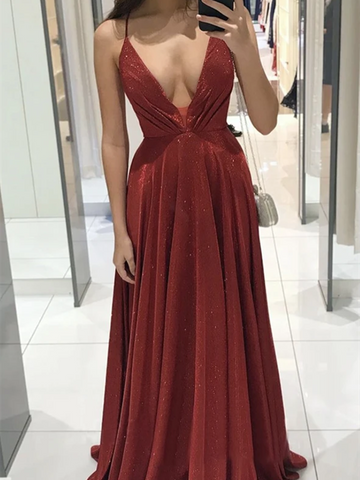 Shiny A Line V Neck Burgundy Long Prom Dresses, A Line V Neck Champagne Long Formal Evening Dresses