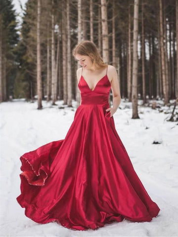 V Neck Red Satin Long Prom Dresses, V Neck Red Satin Long Formal Evening Dresses