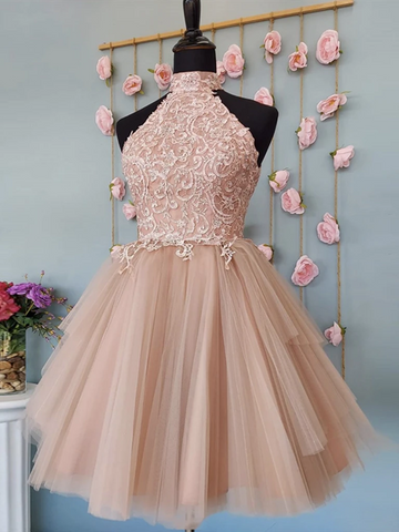 Open Back Halter Neck Pink Lace Short Prom Dresses, Halter Neck Short Pink Lace Formal Homecoming Dresses