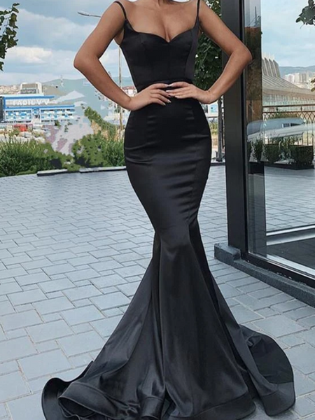 Mermaid Black Satin Long Prom Dresses, Mermaid Black Satin Long Formal Evening Dresses