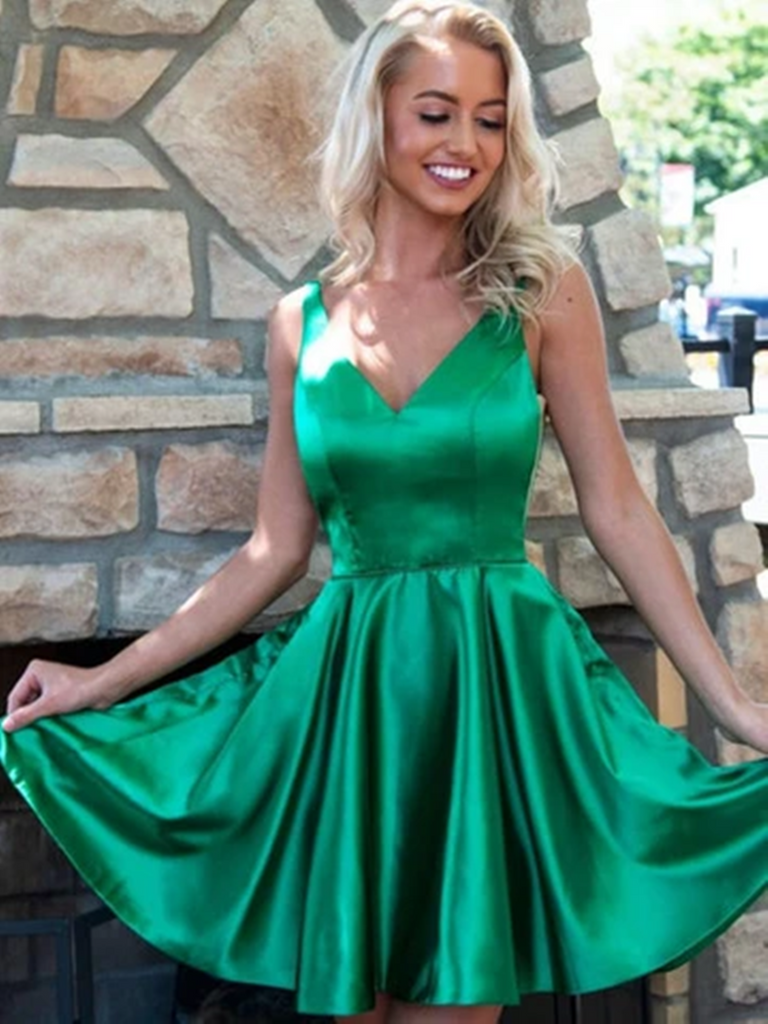 Simple V Neck Green Short Satin Prom Dresses, Short Green Formal Evening Homecoming Dresses