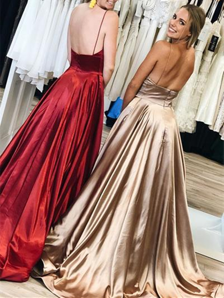 Simple V Neck Champagne/Burgundy Spaghetti Straps Long Backless Prom Dresses, Backless Champagne/Burgundy Formal Evening Dresses, V Neck Backless Bridesmaid Dresses