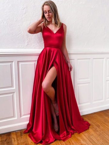 A Line V Neck Dark Red  Prom Dresses With High Slit, Dark Red Long Formal Evening Graduation Dresses