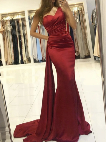 Mermaid One Shoulder Burgundy Satin Long Prom Dresses, One Shoulder Wine Red Mermaid  Long Formal Evening Dresses