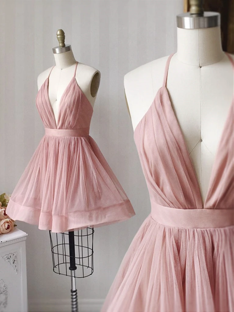 A Line V Neck  Pink Tulle Short Prom Dresses, Short Pink Tulle Formal Evening Homecoming Dresses