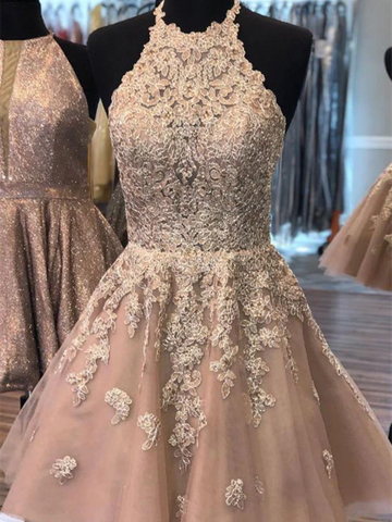 Halter Neck Champagne Lace Short Prom Dresses, Short Lace Champagne Formal Evening Homecoming Dresses Dresses