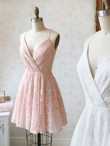 V Neck Pink/White Lace Short Prom Dresses,Short Lace Homecoming Dresses, Pink/White Lace Formal Graduation Evening Dresses, Cocktail Dresses