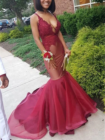 Deep V Neck Elegant Burgundy Mermaid Lace Sleeveless Prom Dresses, Sleeveless Appliques  Burgundy Mermaid Formal Evening Dresses
