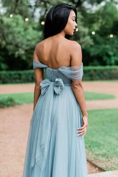 A Line Simple Pleated Off Shoulder Long Tulle Bridesmaid Dresses, Off The Shoulder Long Formal Evening Dresses, Long Tulle Prom Dresses