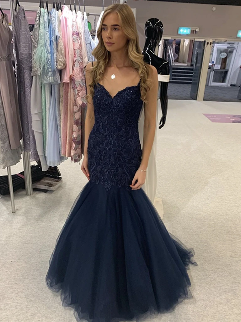 V Neck Navy Blue Mermaid Lace Prom Dresses, Lace Mermaid Long Dark Navy Blue Formal Evening Dresses