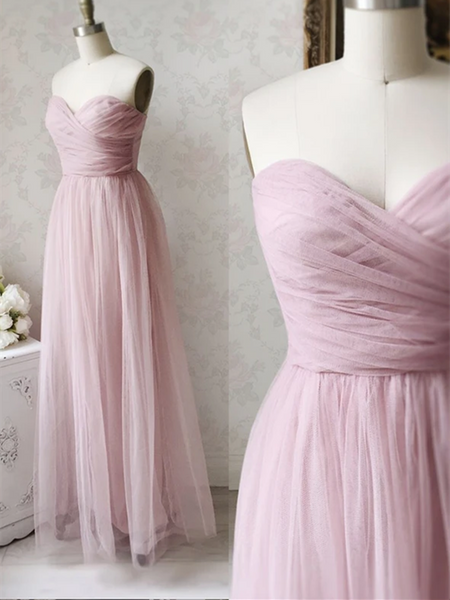 A Line Pink Long Tulle Prom Dresses, Strapless Pink Tulle Formal Evening Dresses