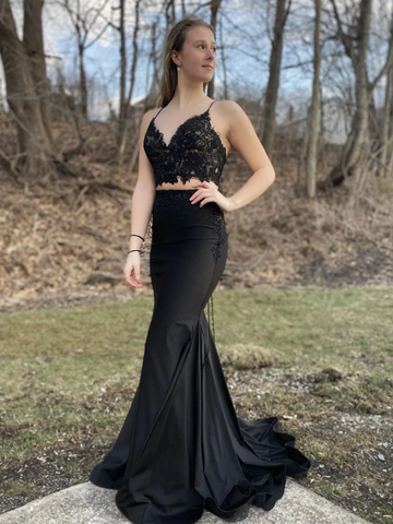 V Neck Two Pieces Mermaid Black Lace Long Prom Dresses, Mermaid Black 2 Pieces Lace Long Formal  Evening Dresses