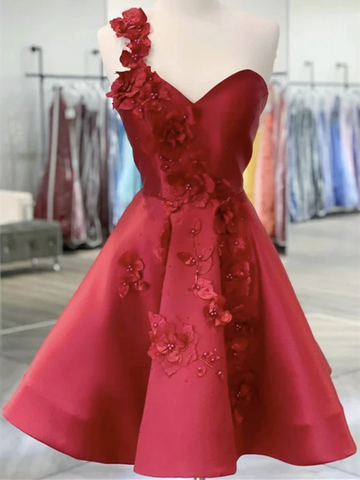 One Shoulder Red Satin Short Backless Prom Dresses, Red Short Applique Homecoming Dresses