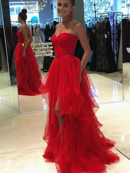 A Line Sweetheart Neck Red Tulle Long Prom Dresses, Sweetheart Neck Red Tulle Long Formal Evening Dresses