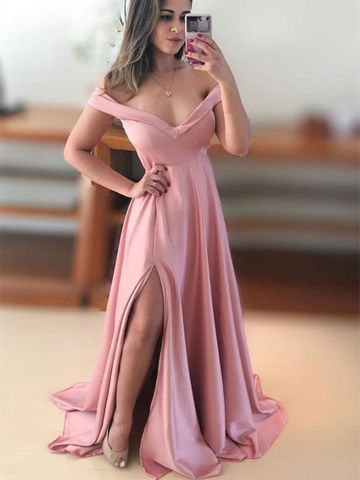 Simple Off Shoulder Satin Pink Long Prom Dresses, Off The Shoulder Long Pink Formal Evening Bridesmaid Dresses