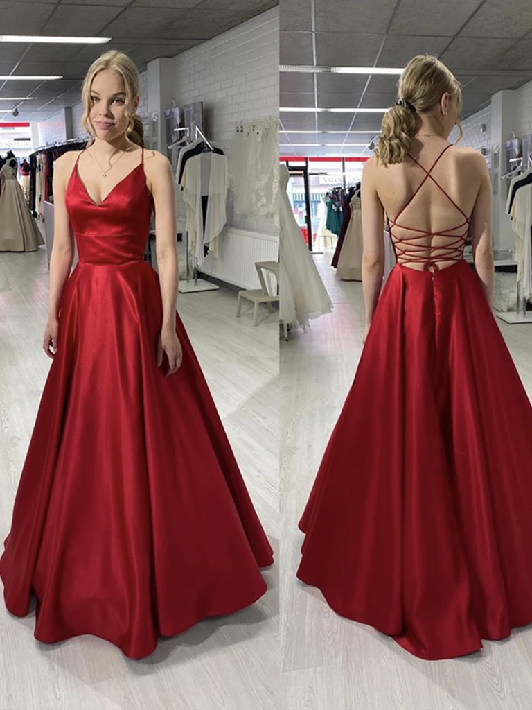 V Neck Burgundy Backless Satin Long Prom Dresses,  V Neck Burgundy Open Back Long Formal Evening Graduation Dresses