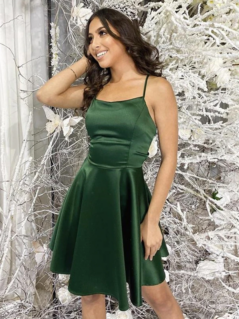 Simple Short Backless Green Prom Dresses, Open Back Green Formal Graduation Homecoming Dresses