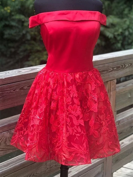 Off Shoulder Short Red Lace Prom Dresses, Off The Shoulder Red Lace Formal Graduation Dresses, Red Lace Homecoming Dresses