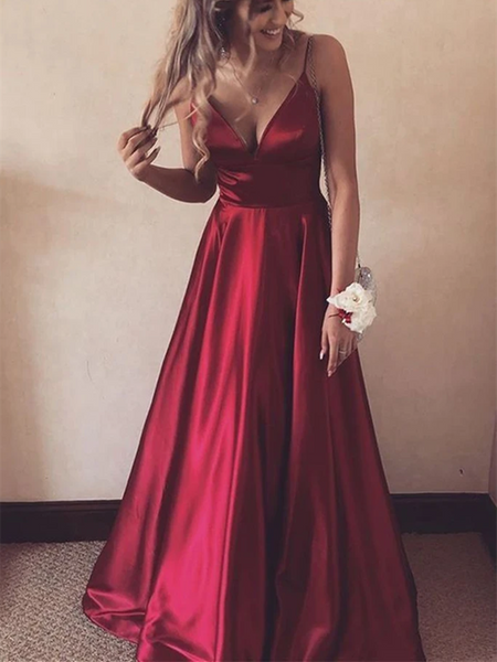 A Line V Neck Burgundy Satin Long Prom Dresses, V Neck Burgundy Formal Graduation Evening Dresses