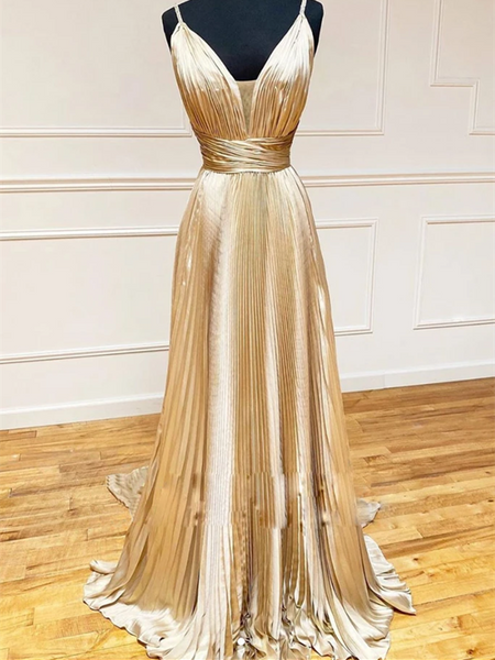 V Neck Champagne Satin Long Prom Dresses, Champagne Long Formal Evening Graduation Dresses