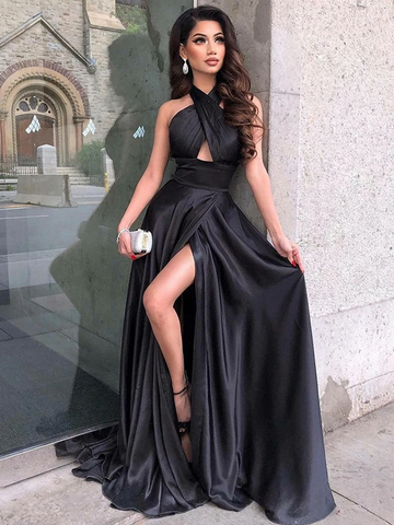 Halter Neck Black Satin Long Prom Dresses with High Leg Slit, Black Formal Evening Dresses