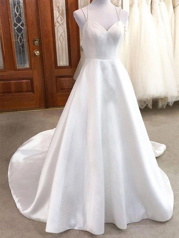 Simple V Neck White Satin  Prom Dresses, V Neck White Satin Long Wedding Dresses, White Bridal Dresses