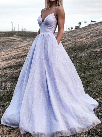 V Neck Backless Purple Long Prom Dresses, Purple Open Back  Long Formal Evening Dresses, Purple V Neck Backless Ball Gown