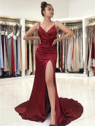 V Neck Burgundy Mermaid Long Prom Dresses With Leg Slit, Burgundy Mermaid Long Formal Evening Dresses