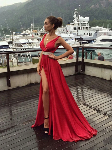 Charming V Neck Deep Red Prom Dresses With High Slit, Charming V Neck Deep Red Long Formal Evening Dresses