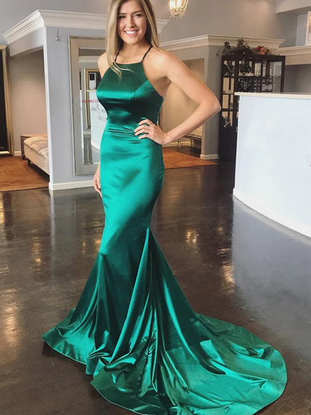 Elegant Green Mermaid Backless Satin Long Prom Dresses with Sweep Train, Green Formal Evening Dresses 2021 with Cross Back