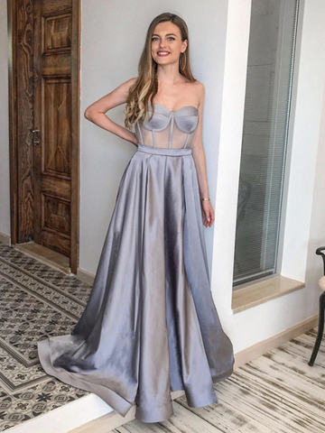 A Line Sexy Sweetheart Neck Silver Gray Long Satin Prom Dresses, Silver Gray Formal Evening Dresses