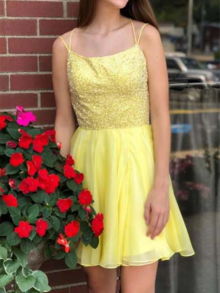 Short Yellow Tulle Homecoming Dresses, Short Winter Prom Formal Dresses, Pageant Dance Dresses, Back To School Party Gown