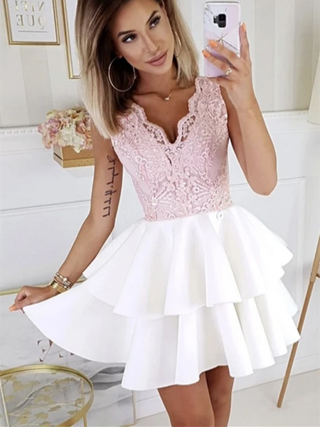 A Line V Neck Pink Lace White Satin Short Prom Dresses, Short Lace Formal Homecoming Dresses