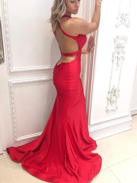 V Neck Mermaid Backless Red Satin Long Prom Dresses, Open Back Mermaid Red Formal Evening Dresses