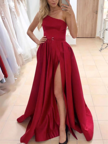 One Shulder Burgundy Satin Long Prom Dresses With Leg Slit, One Shulder Burgundy Satin Long Formal Evening Dresses