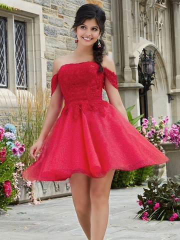 Cute Off Shoulder Red Lace Short Prom Dresses, Red Lace Formal Graduation Homecoming Dresses