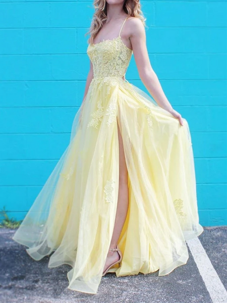 A Line Spaghetti Straps Yellow Lace Long Prom Dress with High Slit, Yellow Lace Formal Graduation Evening Dress