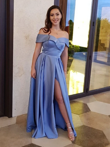 Unique A line Blue Off the Shoulder Satin Long Prom Dresses With High Slit , Off Shoulder Blue Long Satin Formal Evening Dresses