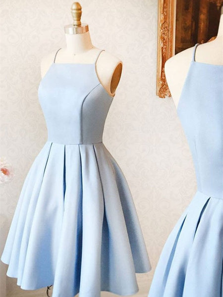 Custom Made A Line Light Blue Short Prom Dress, Short Blue Homecoming Dress, Formal Dress