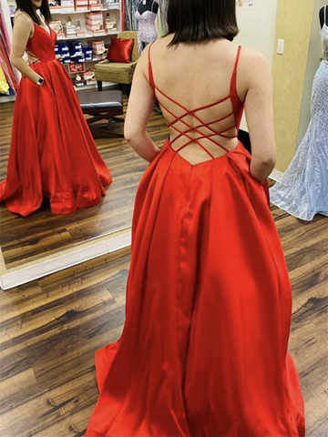 A Line V Neck Backless Red Long Prom Dresses, Open Back Red Satin Long Formal Evening Dresses