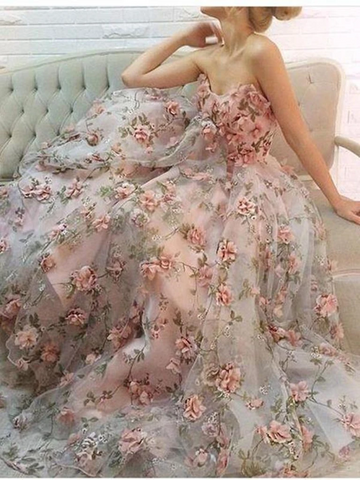 Sweetheart Neck Pink 3D Lace Floral Long Prom Dresses,Pink Floral Long Formal Evening Dresses