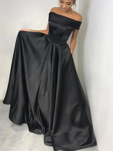 Off Shoulder Black Satin Long Prom Dresses, Off The Shoulder Black Long Formal Evening Dresses