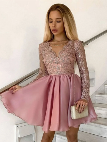 V Neck Long Sleeves Pink Lace Short Prom Dresses, Short Pink Lace Formal Evening Homecoming Dresses