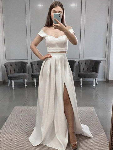 Two Pieces Off Shoulder White Satin Prom Dresses, 2 Pieces White Long Formal Evening Dresses