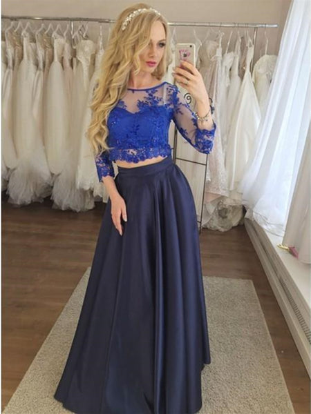 Round Neck Dark Blue Two Piece  3/4 Sleeves Prom Dress with Appliques, 2 Pieces Dark Blue Evening Dress