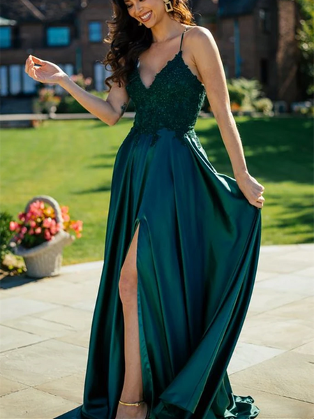 A Line V Neck Dark Green Lace Top Long Prom Dresses with Slit, Dark Green Lace Formal Graduation Evening Dresses