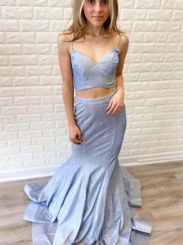 V Neck Two Pieces Gray Blue Mermaid Long Prom Dresses, 2 Pieces Gray Blue Mermaid Long Formal Evening Dresses